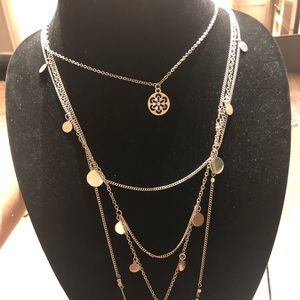 Long layered Silver necklace